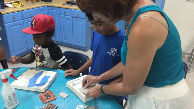 Artist and educator Karen Silton of Mosaic Morphosis has teamed up with the West Valley Boys & Girls Club for a summer arts program to create mosaic benches that will be placed outside and in front of the new Costco at The Village at Westfield Topanga.