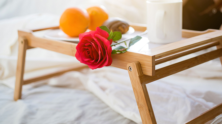 Closeup Photo Of Tray With Breakfast And Red Rose At Hotel Room